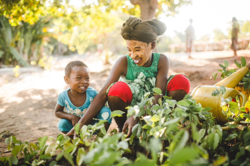 kids smiling with seedlings