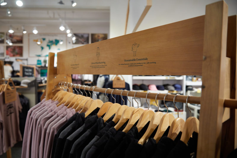clothing rack with tentree hoodies