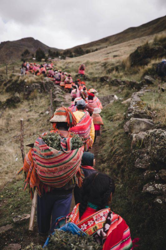 People walking in a line
