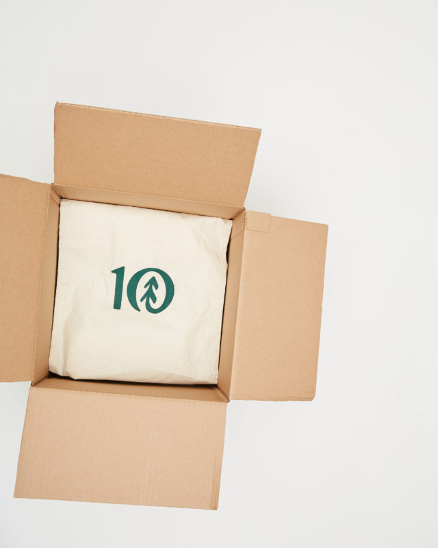 box with tentree logo inside
