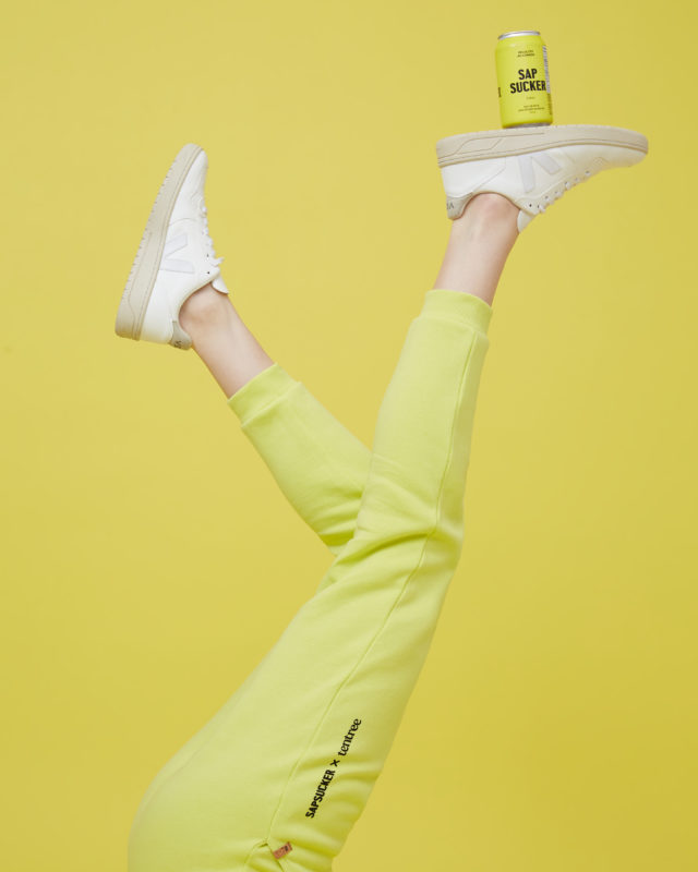 yellow pants and yellow can