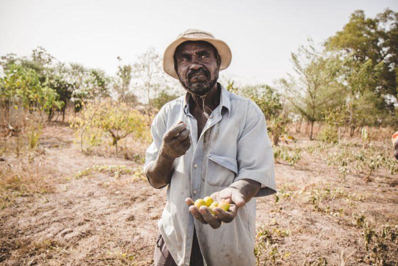 man holding handful of fruit