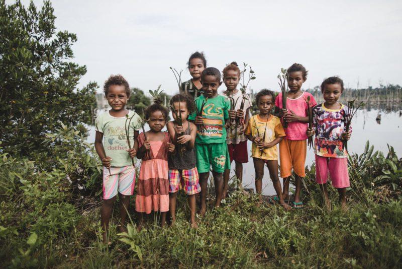little kids with seedlings