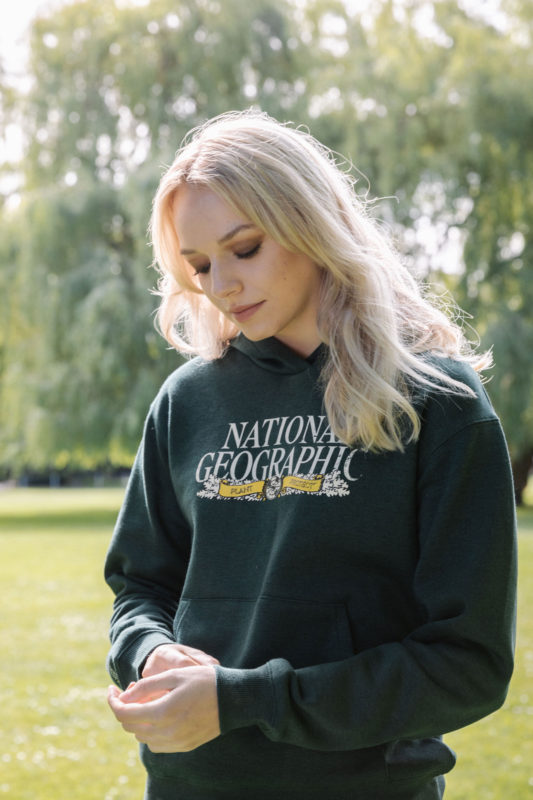 woman in national geographic sweater